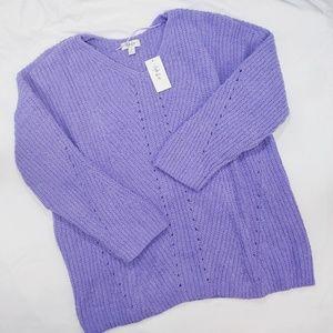 Style & Co Purple Chenille V-Neck Sweater XL NWT